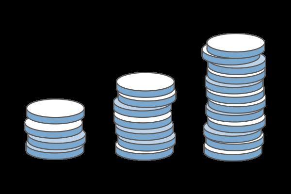 Drei gezeichnete Türme aus Münzen die immer höher werden.