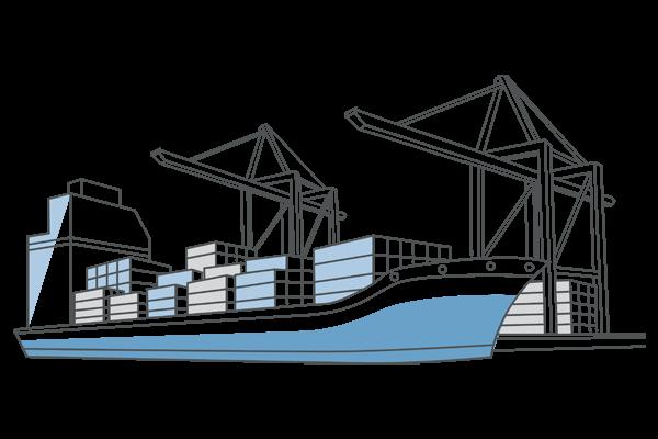 Ein gezeichnetes Frachtschiff im Hafen.